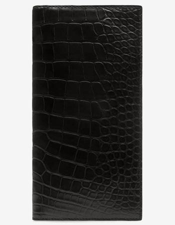 メンズ ブラック アリゲーター コンチネンタルウォレット