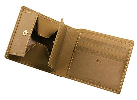 二つ折り財布(BOX小銭入れ付き札入)■レーニアカーフ
