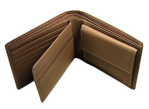 二つ折り財布(ベロ・小銭付札入)■レーニアカーフ