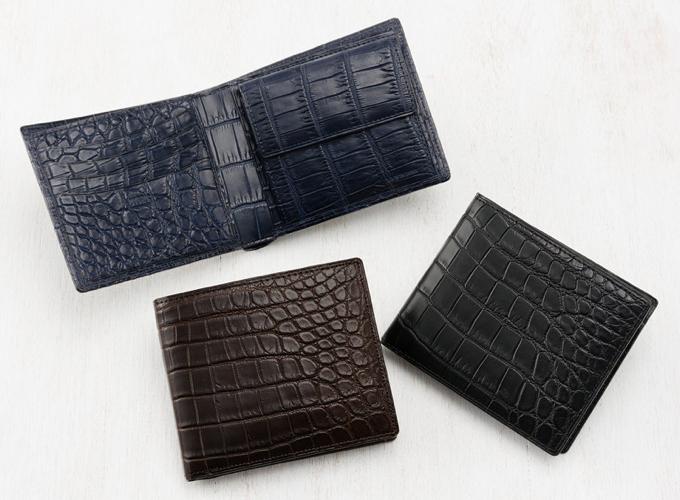 CPRIS(キプリス)二つ折り財布(小銭入れ付き札入)マットクロコダイル
