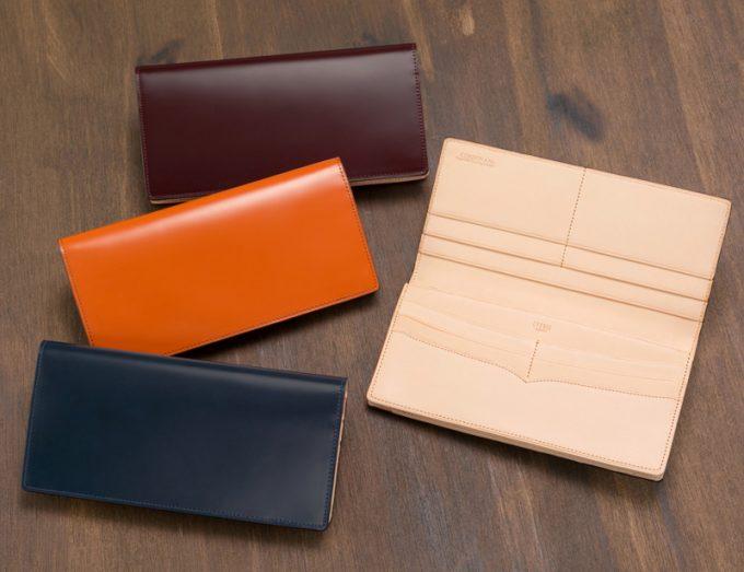 メンズ長財布(小銭入れ付き通しマチ束入)新コードバン&ベジタブルタンニン