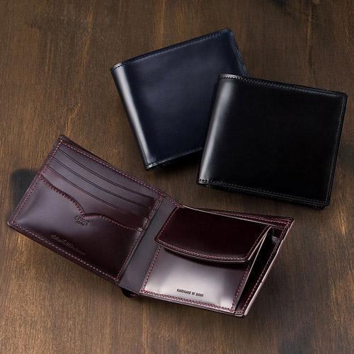 二つ折り財布(小銭入れ付き札入)■オイルシェルコードバン ~アンフィニ~