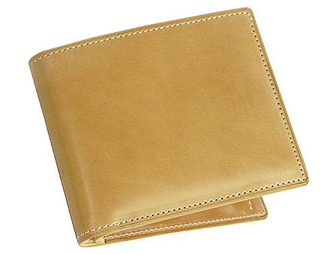 二つ折り財布(小銭入れ付き札入)■ナチュラルコードバン
