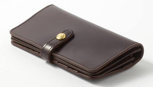 フラップ付長財布(コードバン)