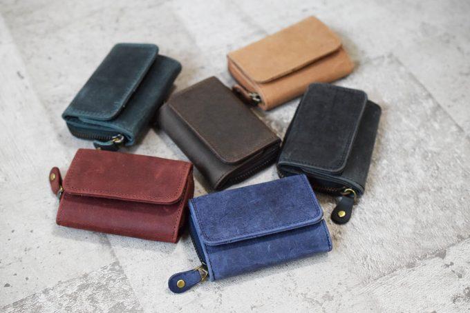 本革ミニ財布 三つ折りコンパクト