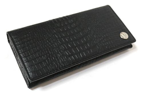 クロコ型押レザーロングウォレット/長財布 ブラック