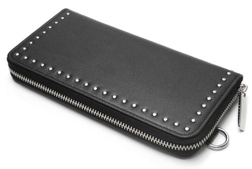 Leather long wallet fold 'corner studs' KS ラウンドファスナーロングウォレット