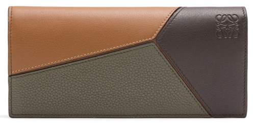 Puzzle Long Horizontal Wallet Choc Brown/Khaki Green/Tan