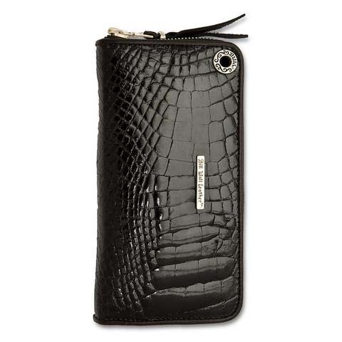 Medium Zipper Wallet in black Shiny Alligator Leather