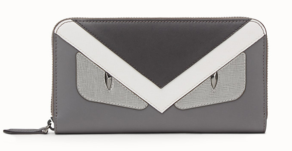 Zip-around wallet in grey leather with insert