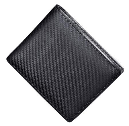 財布 カーボンレザー メンズ 二つ折り 小銭入れ 本革 大容量 ボックス型