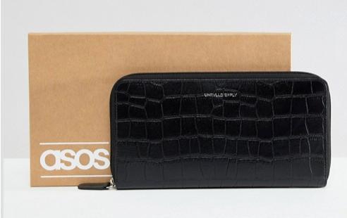 ASOS DESIGN leather travel wallet in black crocodile emboss