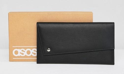 ASOS DESIGN leather asymetric travel wallet in black