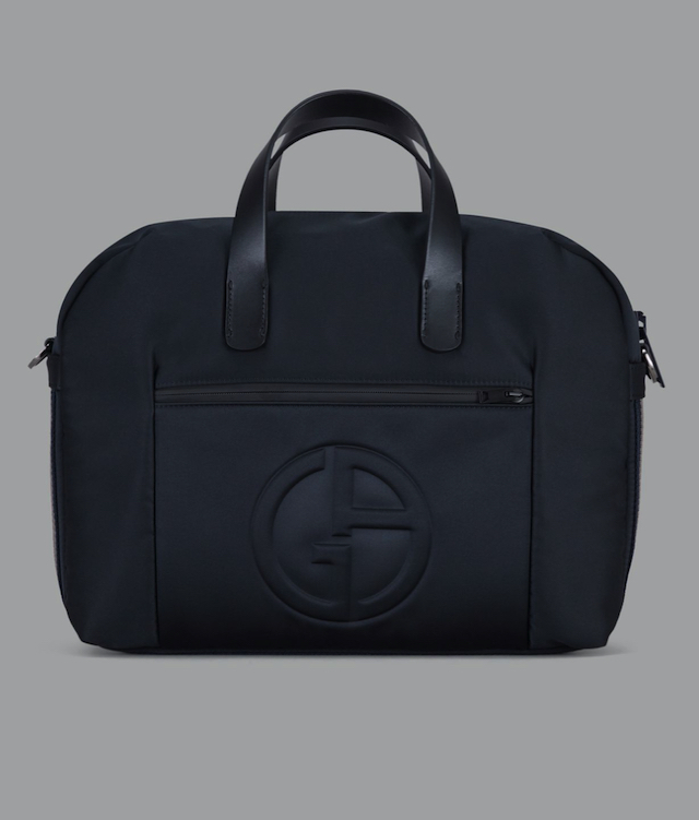 ブリーフケースバッグ 立体ロゴ&ツートーンバン