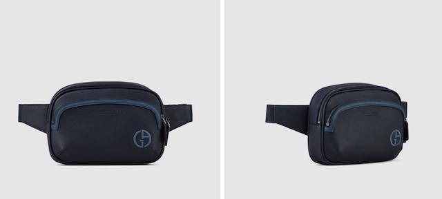 ベルトバッグ フルグレインレザー製 コントラストライン&ロゴ