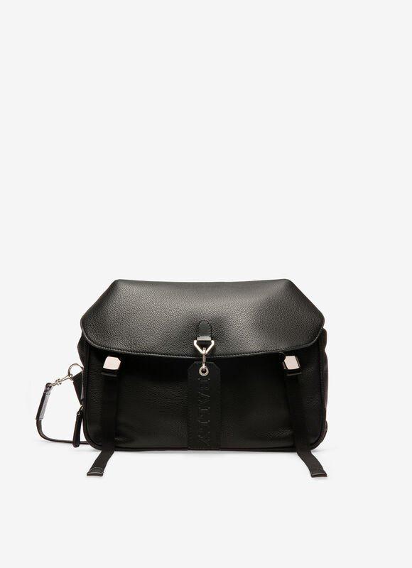 メンズ ブラック グレインボヴィンレザー メッセンジャーバッグ